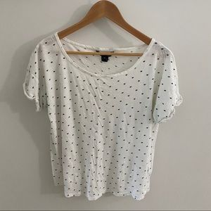 French Connection White T-shirt Navy Blue Stars